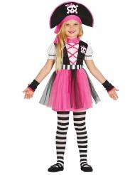 Fetziges Piratinnen-Kostüm für Mädchen Karneval pink-schwarz-weiss