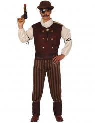 Stilvolles Steampunk-Kostüm für Herren viktorianische-Verkleidung braun-rot