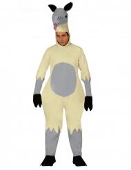 Lustiges Lama-Kostüm für Erwachsene Tier-Overall für Karneval grau-Beige