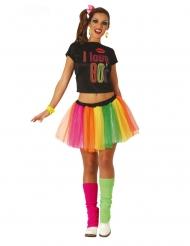 80er-Jahre Party-Kostüm für Damen Karnevals-Verkleidung bunt