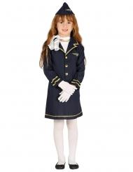 Stewardess-Mädchenkostüm Karnevals-Verkleidung blau-goldfarben
