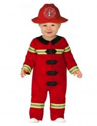 Tapferer Feuerwehrmann-Kostüm für Kleinkinder Karneval rot-schwarz-gelb