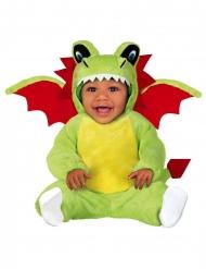 Drachen-Babykostüm für Karneval Overall grün-rot-weiss