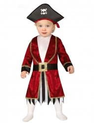 Kleine Piratin Mädchenkostüm für Kleinkinder rot-schwarz-weiss