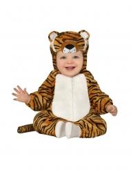 Baby-Tigerkostüm für Karneval Tier-Overall braun-schwarz-weiss
