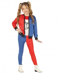Verrücktes Clownmädchen-Kostüm für Kinder Karneval blau-rot-weiss
