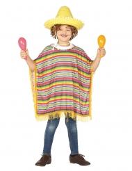 Mexikanischer Poncho für Kinder Kostümzubehör bunt