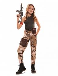 Kämpferisches Soldatenkostüm für Mädchen Faschings-Verkleidung braun-grau