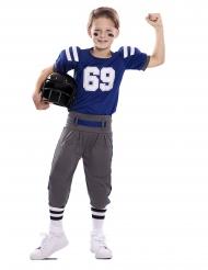 American Football-Kinderkostüm für Jungen Sportliche-Verkleidung blau-weiss-grau