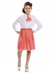 Retro-Kostüm-Set 50er-Jahre für Mädchen Pin-Up rot-weiss