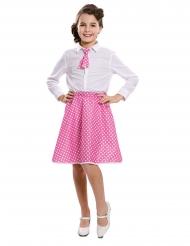 Pin-up Mädchenkostüm 50er-Jahre-Verkleidung weiss-rosafarben