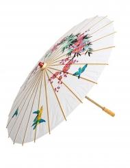 Asiatischer Papierschirm Faschings-Zubehör weiss-bunt