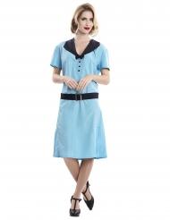 Stilvolles Sekretärinnen-Kostüm aus den 50er-Jahren blau-schwarz