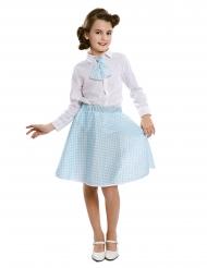 50er-Jahre-Kostüm für Mädchen Pin-Up-Verkleidung hellblau-weiss
