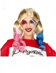 Harlekin-Zopfperücke für Damen Kostüm-Zubehör blond-blau-pink
