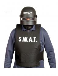 S.W.A.T-Helm Spezialeinheit Zubehör für Fasching schwarz-weiss