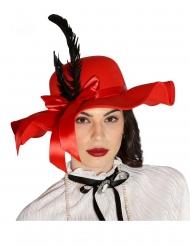 Glamouröser Damenhut mit Federn Faschings-Accessoire rot-schwarz