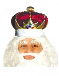 Königskrone pompöses Zubehör für Herren Karneval rot-goldfarben