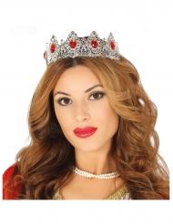 Prinzessinnen-Tiara für Damen Kostüm-Accessoire silberfarben-rot