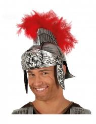 Gladiatoren-Helm für Erwachsene Römer-Kopfbedeckung silber-rot