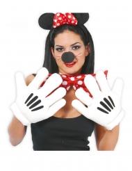 Handschuhe Comic-Maus Zubehör für Erwachsene schwarz-weiss