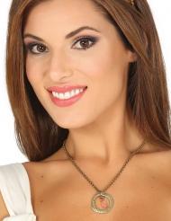 Metall-Halskette mittelalterliches Accessoire für Damen silber-goldfarben
