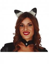 Katzenohren-Haarreif Kostüm-Accessoire für Erwachsene schwarz-weiss