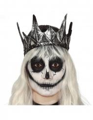 Dunkle Krone Kostümzubehör aus Latex grau-schwarz