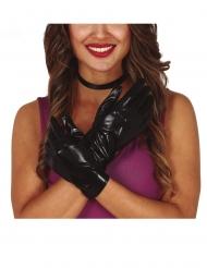 Handschuhe in Leder-Optik Kostümzubehör für Erwachsene schwarz
