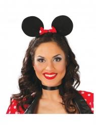 Mausohren-Haarreif für Damen Kultiger-Kopfschmuck schwarz-rot