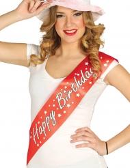 Geburtstags-Schärpe Happy Birthday Kostüm-Zubehör für Erwachsene rot-weiss