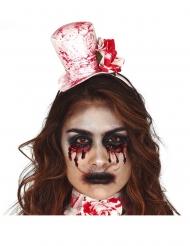 Blutiger Miniatur-Hut und Halsband Accessoire für Damen weiss-rot