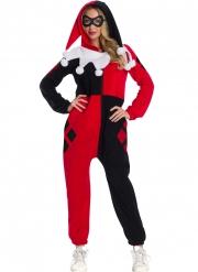 Harley Quinn™-Damenkostüm für Halloween Kostüm-Overall rot-schwarz-weiss