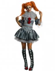 Offizielles Pennywise™-Kostüm für Damen Es™-Halloween-Kostüm grau-rot