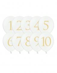 Latex-Ballons Zahlenballons 1-10 Partydeko 10 Stück weiss-gold 30 cm