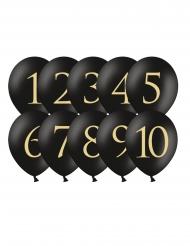 Zahlen-Luftballons 1-10 Partydeko 10 Stück schwarz-gold 30 cm