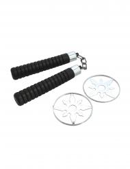 Ninja-Accessoire-Set Nunchaku und Shuriken schwarz-silberfarben