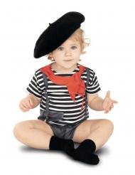 Pantomime-Kostüm für Kleinkinder Body für Fasching schwarz-weiss-rot