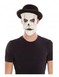 Pantomime-Maske mit Melonen-Hut Zubehör für Fasching schwarz-weiss