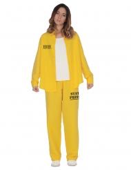 Sträflings-Kostüm Gefangene Damen-Verkleidung für Fasching gelb-schwarz