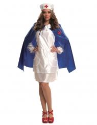 Klassisches Krankenschwester-Kostüm für Damen Fasching weiss-blau