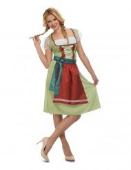 Oktoberfest-Kostüm Dirndl für Damen grün-rot-weiss