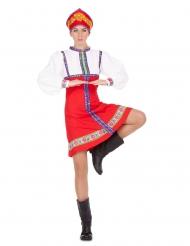 Russische Tänzerin-Damenkostüm für Fasching rot-blau-weiss