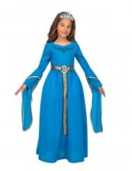 Mittelalterliche-Prinzessin für Mädchen Kinderkostüm für Fasching blau