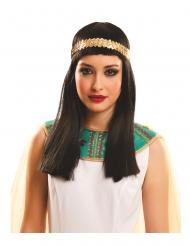 Ägypterin-Damenperücke Accessoire für Fasching dunkelbraun-goldfarben