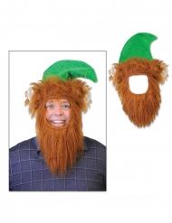 Mütze mit Bart Kobold grün-orange