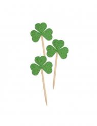 Kleeblatt-Spieße 24 Stück grün 8 cm