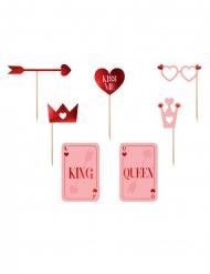 Photobooth-Set Partyzubehör für Valentinstag 7-teilig rot-rosa