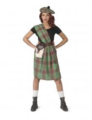 Schottisches Damenkostüm für Fasching Länder-Kostüm grün-rot