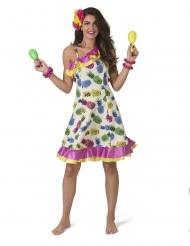 Sommerparty-Kleid für Damen mit Ananas Hawaii bunt